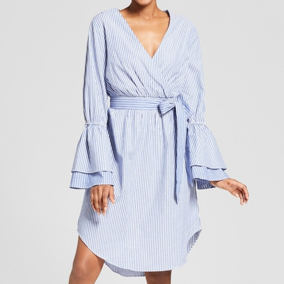 eed313c725 a new day Dresses   Skirts - Striped Tiered Sleeve Wrap Dress - A New Day